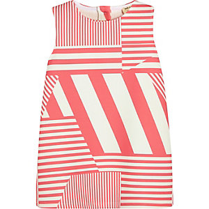 Mini girls pink stripe shift dress