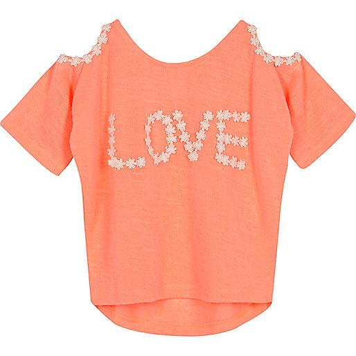 Mini girls coral cold shoulder top
