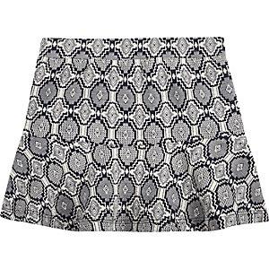 Mini girls navy print skirt
