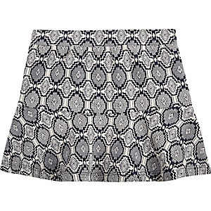 Mini girls navy print skirt