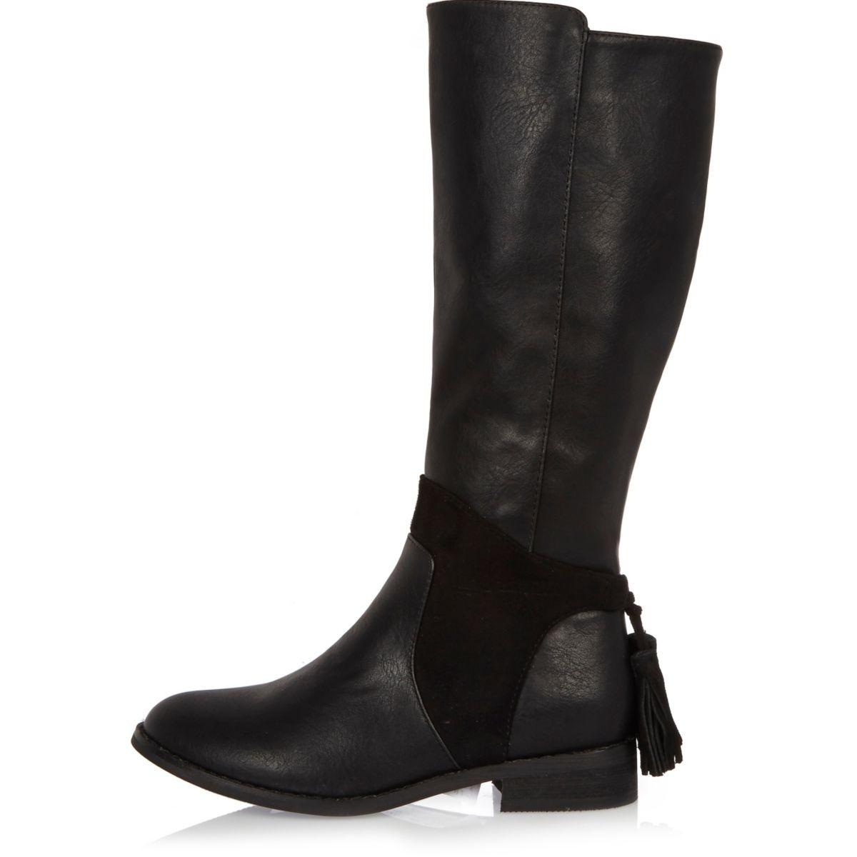 Girls black knee high rider boots