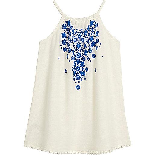 Mini girls blue print trapeze dress