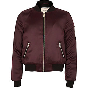 Girls burgundy satin bomber jacket