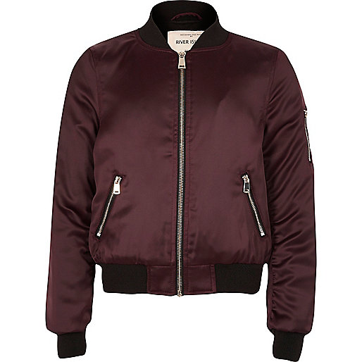 Satin-Bomberjacke in Bordeaux