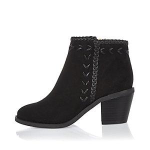 Girls black weave western cowboy boots