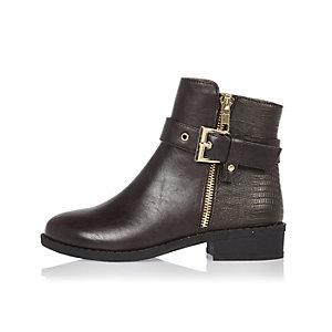 Girls brown glam biker boots