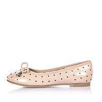 Girls pink studded ballerina shoes