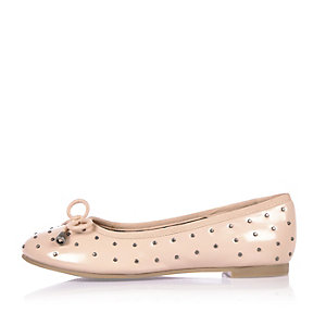 Girls pink studded ballerina shoes