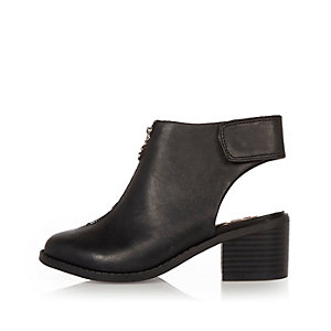 Girls black zip front boots