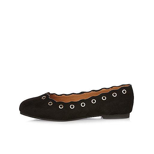 Girls black eyelet ballerina shoes