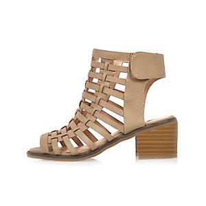 Girls nude caged heel sandals