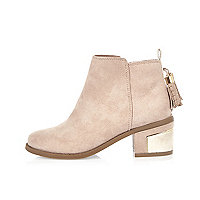 Girls cream tassel ankle boots