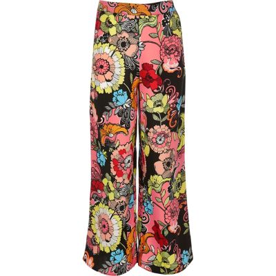 River Island Girls pink print palazzo pants