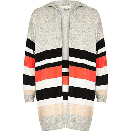 Girls grey stripe oversized cardigan