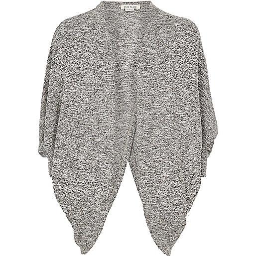 Girls grey marl draped cardigan