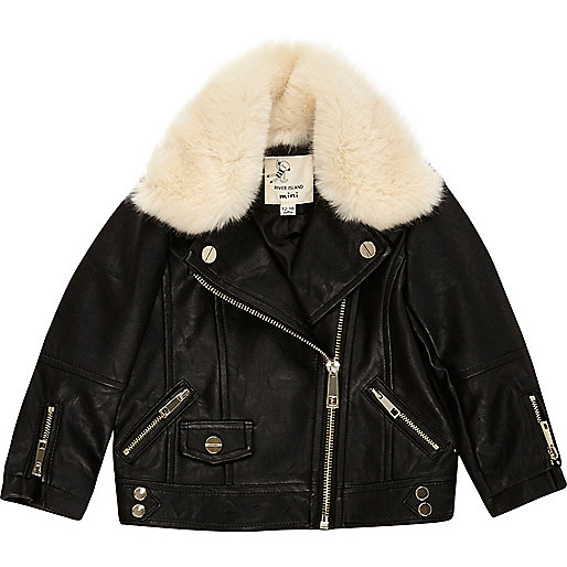 Mini girls black faux fur lined jacket