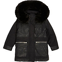 Mini girls black faux fur hooded parka