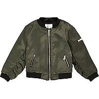 Mini girls khaki satin bomber jacket