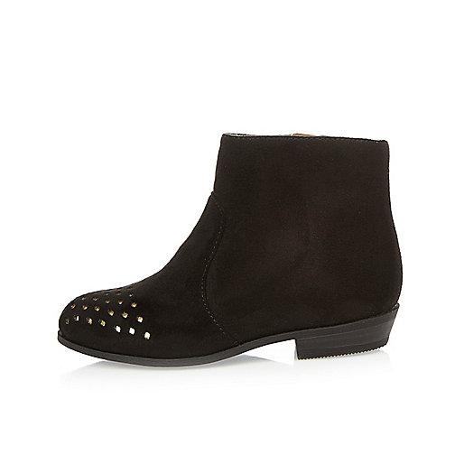 Mini girls black laser cut western boots