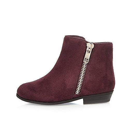 Mini girls purple zip western boots
