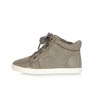 Mini girls gold sparkly sneakers