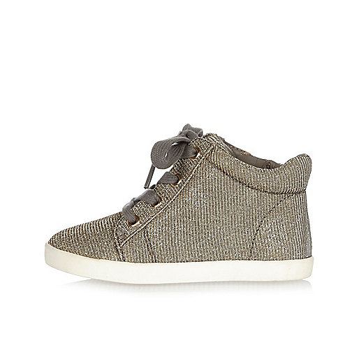Mini girls gold sparkly trainers