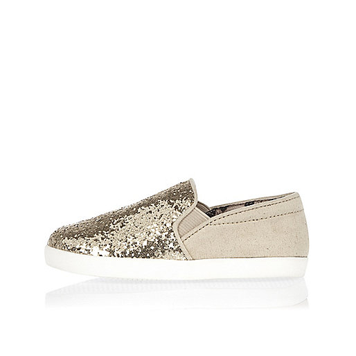 Mini girls gold sparkle plimsolls