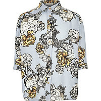 Girls blue floral print oversized shirt