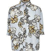 Chemise oversize bleue à fleurs pour fille