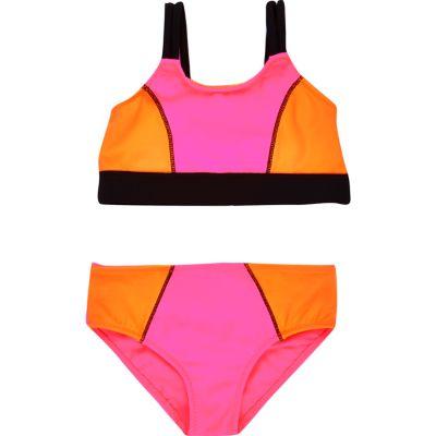 Roze bikini met kleurvlakken voor mini girls