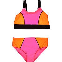 Bikini imprimé colour block mini fille