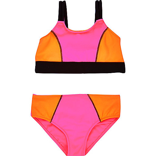 Bikini imprimé colour block mini fille