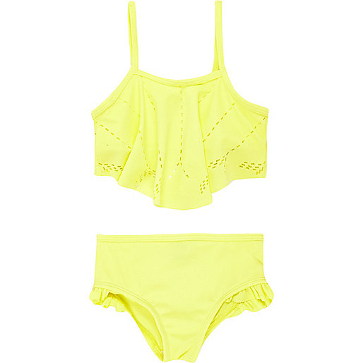 Mini girls yellow laser cut bikini