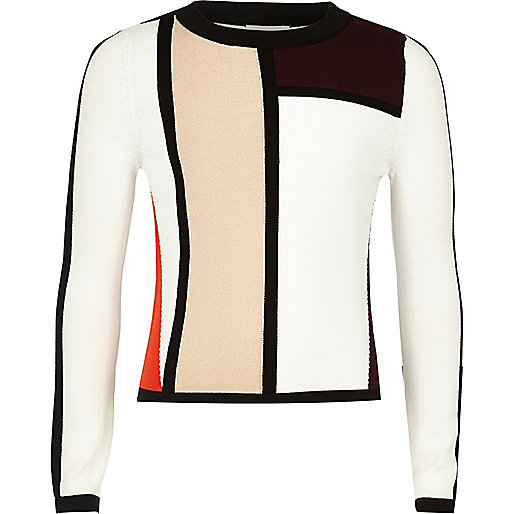 Girls red color block top