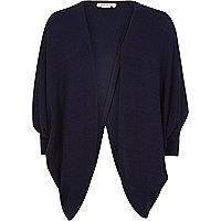 Girls navy knit draped cardigan