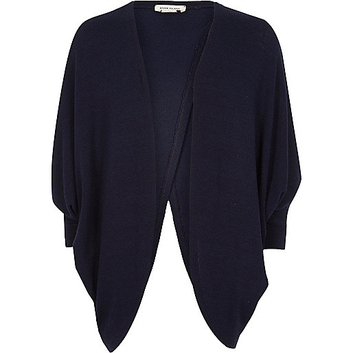Girls navy knit draped cardigan