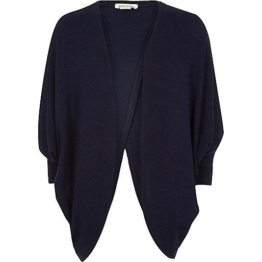 Cardigan en maille bleu marine drapé pour fille