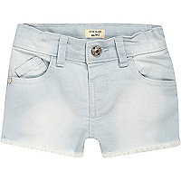 Mini girls light blue wash denim shorts