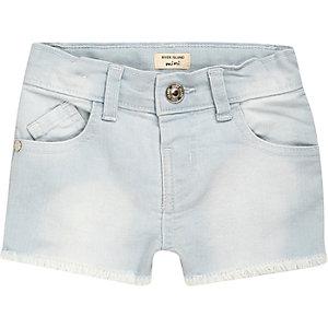 Mini girls light blue wash denim shorts