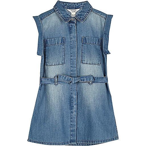 Mini girls blue wash belted denim dress