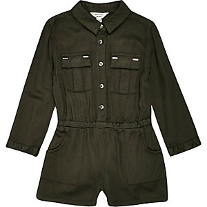 Mini girls khaki military jumpsuit