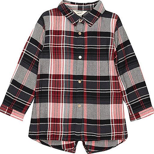 Chemise longue à carreaux rouge pour bébé fille