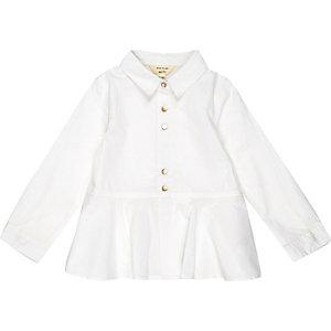 Mini girls white peplum shirt