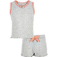 Girls grey pointelle pyjama set