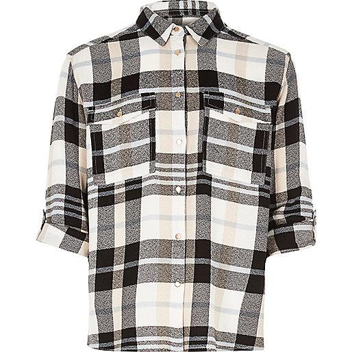 Girls cream check shirt