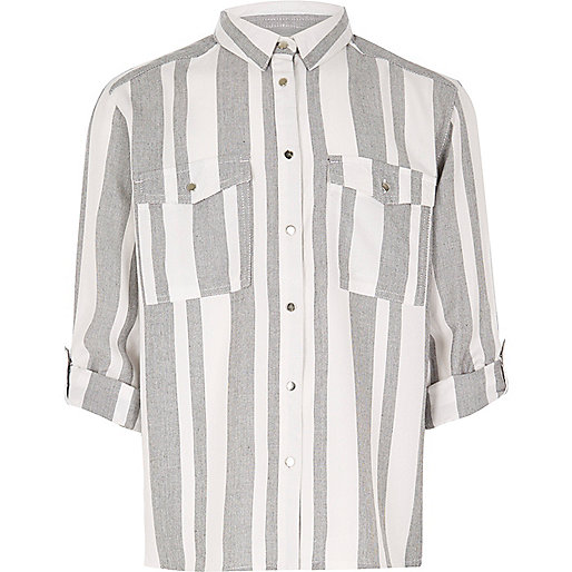 Girls grey stripe shirt