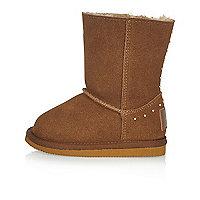 Mini girls tan studded soft boots