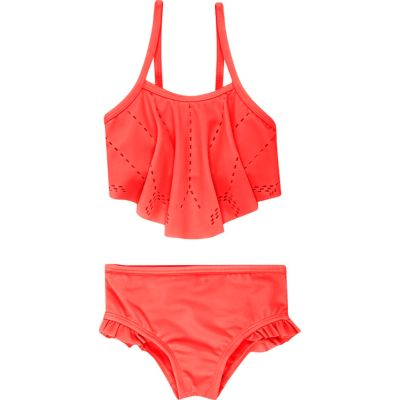 Koraalrode laser-cut bikini voor mini girls