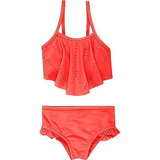 Mini girls coral laser cut bikini