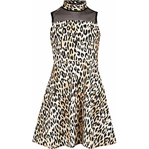 Girls leopard print mesh panel scuba dress